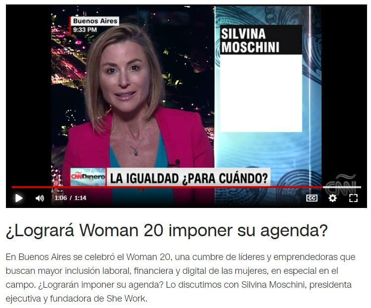 CNN report on TransparentBusiness, SheWorks & Silvina Moschini