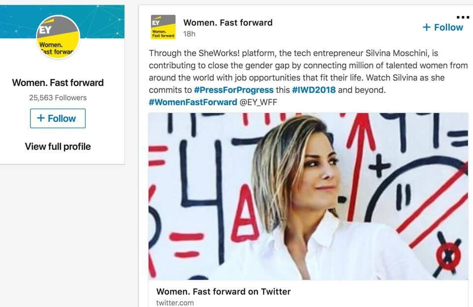 EY postings featuring Silvina and our SheWorks project