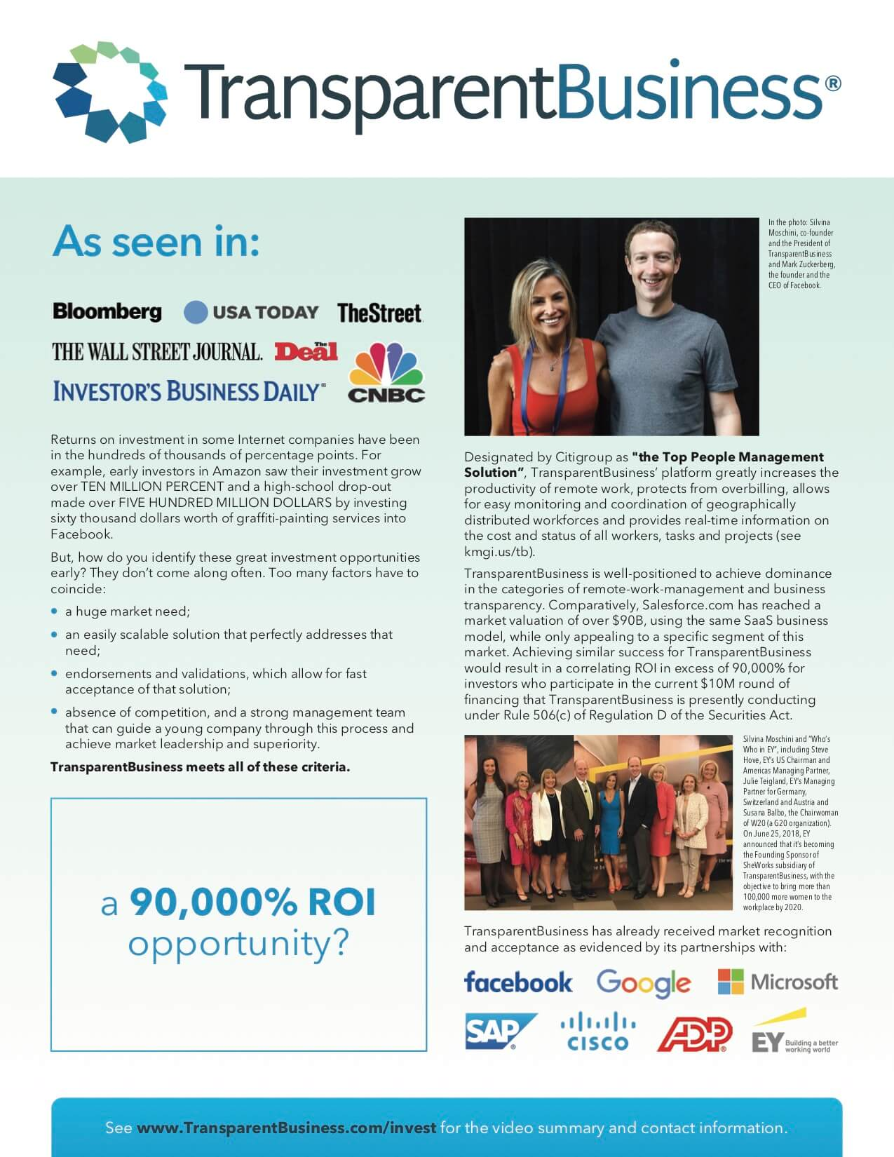 The new investment flier of TransparentBusiness page 1