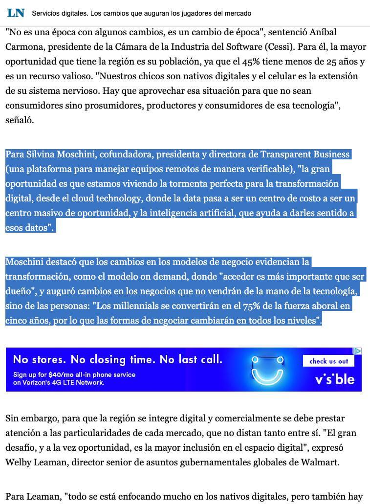 La Nacion included Silvina in its review part 2