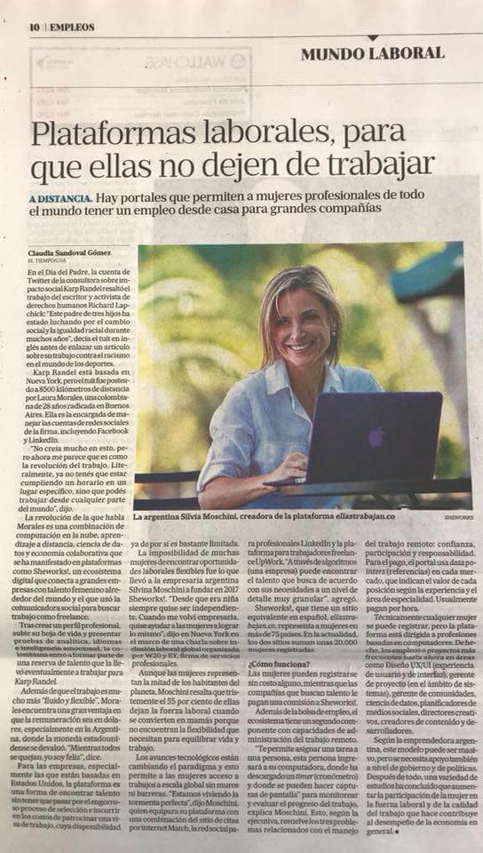 La Nacion published full-page article, prominently featuring our President Silvina Moschini