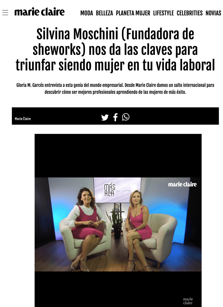 Marie claire magazine re: SheWorks, Silvina Moschini