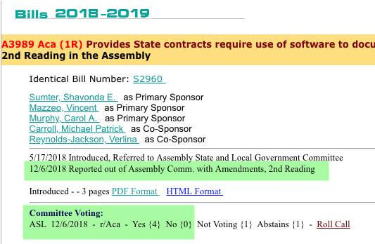 Our New Jersey bill is approved by the State Committee
