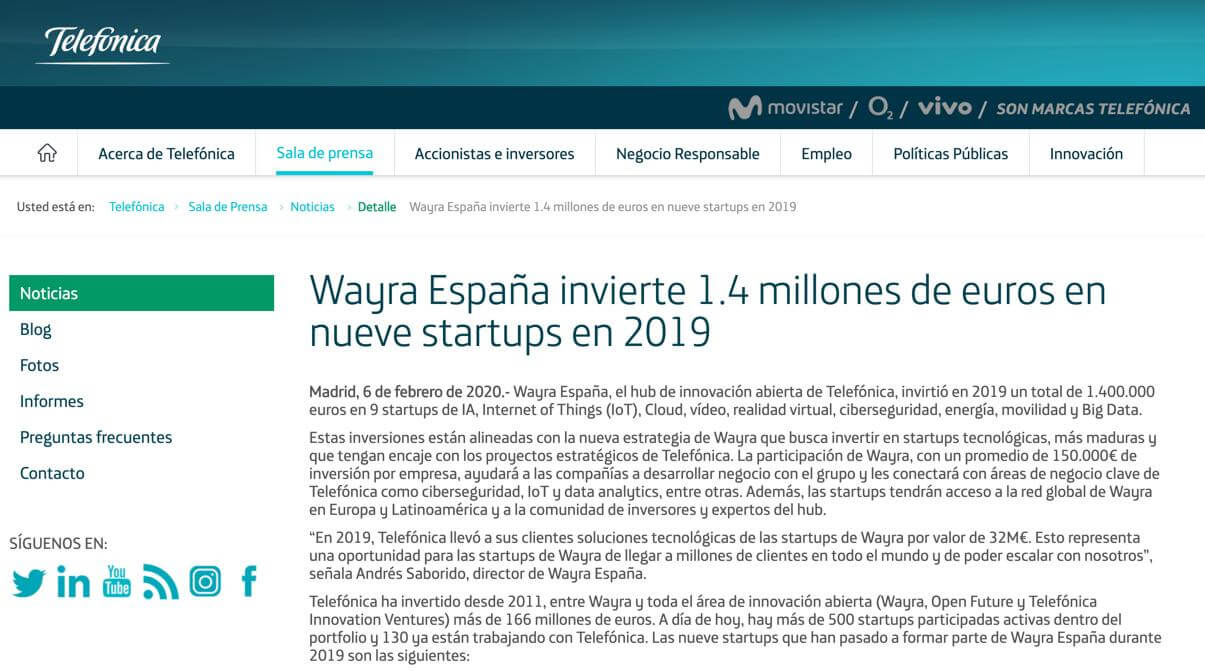 Telefonica issued a press-release about their investment in TransparentBusiness