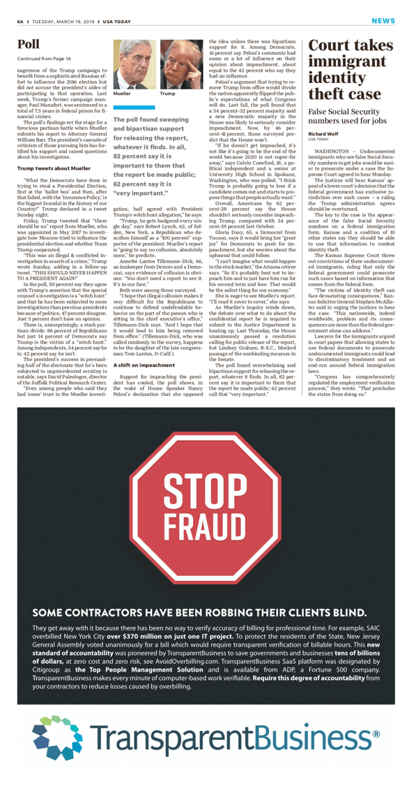TransparentBusiness ad in the WSJ & USA Today - Stop Fraud