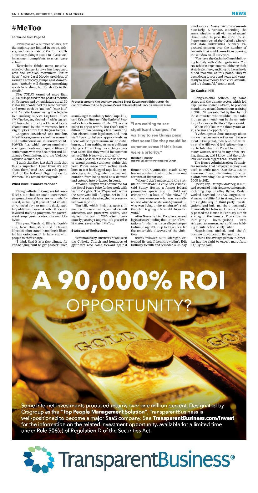 TransparentBusiness launches the 'ROI' advertising campaign in USA Today